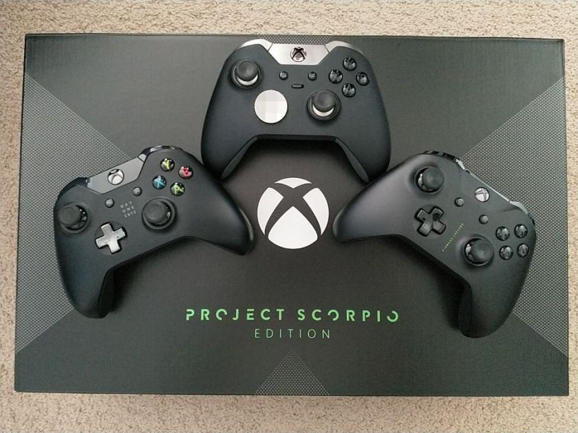 Xbox One X Project Scorpio with various Xbox One controllers